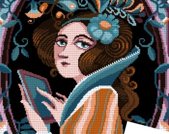 Counted stitch pattern XL - Ada Lovelace Portrait - PDF Instant download