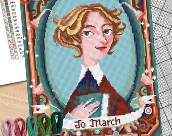 Little Women crioss stitch -Jo March -Louisa May Alcott - Little Women -PDF and jpg (fullpattern image) Instant download