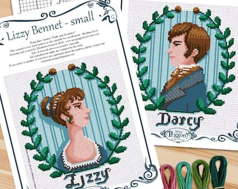 COUNTED STITCH pattern - Lizzy and Darcy - Jane Austen- Pride and Prejudice -PDF - Suitable for cross stitch and needlepoint