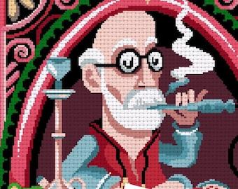 Cross stitch pattern XL -The Freud Caterpillar- Alice in wonderland - Lewis Carroll  -PDF Instant download