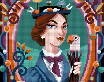 COUNTED STITCH pattern - Mary Poppins portrait - P.L.Travers - PDF ready to download