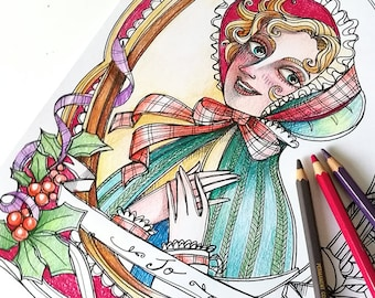 """Little women X-mas coloring book PDF 4 pages-  """"Little Women"""" Meg, Jo, Beth and Amy  - Louisa May Alcott - Instant download A4 Printable"""