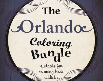 Orlando coloring book -Orlando Sasha the Archiduchesse and Shelmerdine portraits - 8 Coloring pages PDF  - instant download A4 Printable