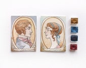 """Pride and Prejudice - Jane Austen - Aceo """"Mr Darcy and Miss Bennet"""" - Watercolors and coffe - 2 OOAK original artwork"""
