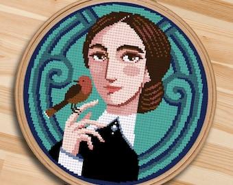 COUNTED STITCH pattern - Jane Eyre - Charlotte Bronte - I'm no bird -PDF Instant download
