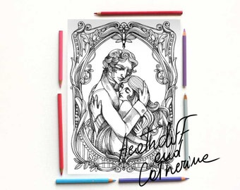 Wuthering Heights Coloring pages- Heathcliff and Catherine in love - Instant download, A4 illustration coloring kit - Art Printable Pattern