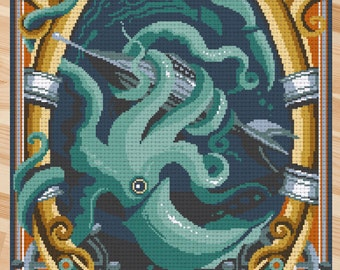 Counted stitch pattern XL -Twenty Thousand Leagues Under the Seas - Jules Verne -PDF Instant download