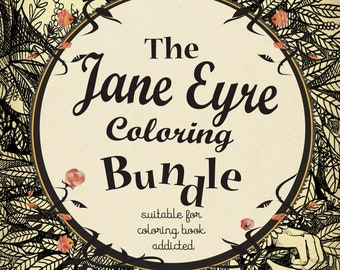 6 Coloring pages PDF -Jane Eyre and Mr Rochester - Jane Eyre Charlotte Bronte - Instant download - Art Printable illustration