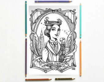 Mary Poppins - Coloring page PDF - Mary Poppins PL Travers - Instant download - Art Printable illustration