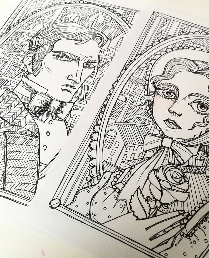 Instant download Art Printable illustration JPG 2 Coloring pages Margaret Hale and Mr John Thornton portraits North and South