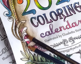 2021 COLORING CALENDAR- Bronte sisters, Proust, Poe, Melville, Sand, Wilde and more- Instant Download -  A4  size 8.27 × 11.7 inches