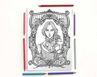 Coloring page - Oscar Wilde - The picture of Dorian Gray- Dorian Gray portrait - Instant download - Printable illustration
