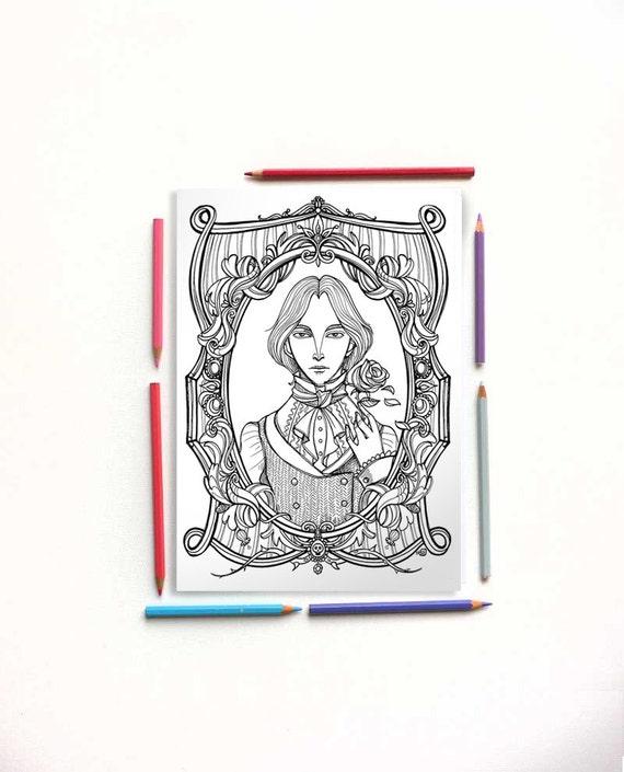 Disegno Da Colorare Pdf Oscar Wilde Il Ritratto Di Dorian Etsy