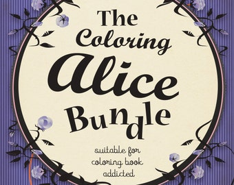 Coloring book PDF- Lewis Carroll - Alice in wonderland -5 different illustrations- Instant download - PDF Printable A4