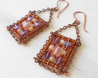 Orecchini quadrati pendenti, orecchini pendenti con perline, regalo mamma, bijoux con perline, orecchini con catena, regalo originale