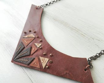 Leather bib necklace, leather necklace bib, necklace casual outfit, brown bib necklace, geometric bib necklace, geometric necklace, gift her