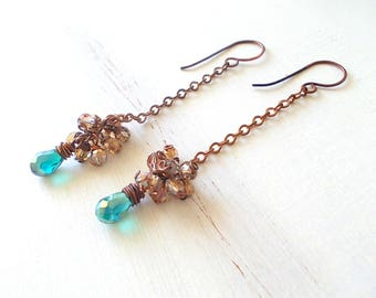 Elegant earrings with crystal beads champagne and green water