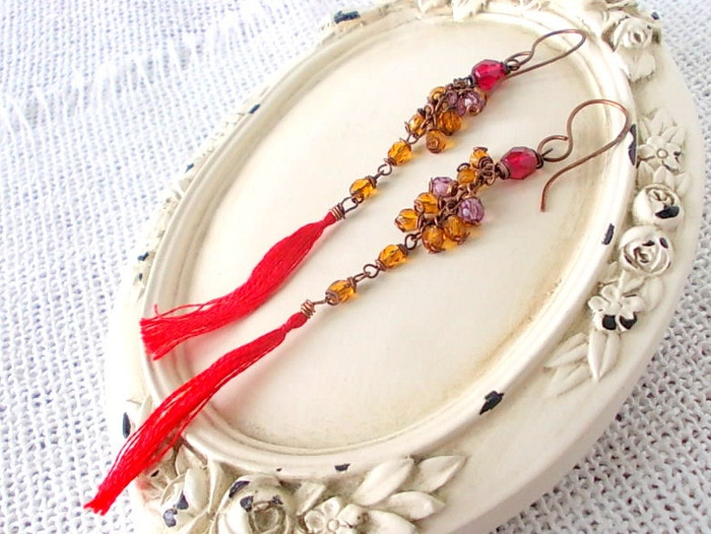 gift for her Tassel earrings with red cotton pendant handmade combined with ocher beads mounted with copper wire elegant gift
