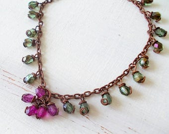 Inspirational gift, Bracelet with olive and fuchsia green pendant beads, handmade for Valentine  gift for her