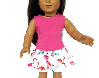 18 inch pink flamingo skirt - pink sleeveless top - trendy 18 inch doll clothes - american made girl dolls - summer outfits -  skater skirt