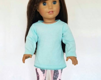 """18 inch doll clothes, mint green lace tunic and pink feather leggings,  American made, girl doll clothes, winter 18 inch clothes, 18"""""""