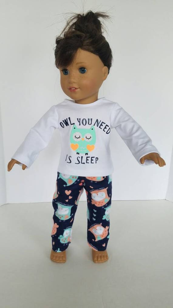 """18/"""" doll clothes-fits American Girl Boy  My Life-Pajamas-Flannel-Small Owl"""