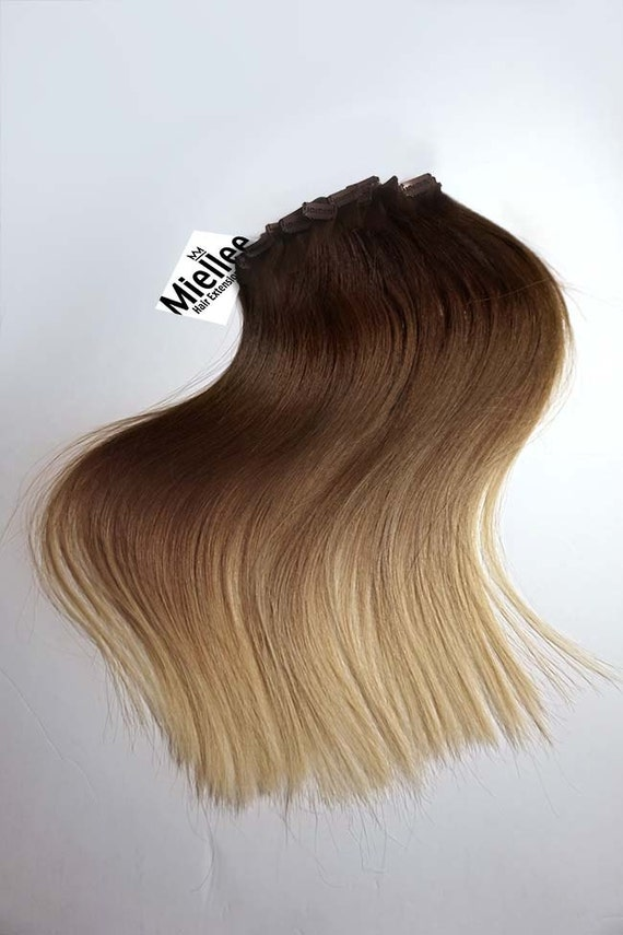 Light Golden Brown Balayage Clip In Extensions Silky Etsy