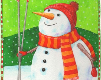 """Box of """"Frosty the Rowman"""" Christmas cards"""