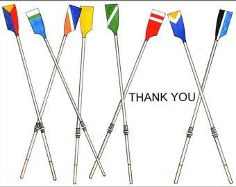 Box of 10 rowing thank you cards with multi-colored oars