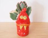 Ceramic Succulent Planter, Red Monster Ceramic Succulent Pot, Desk Planter, Ceramic Monster, Monster Sculpture, Toothpick Holder