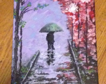 16x20 Acrylic Painting, Impressionism, Room Decor, Home Decor, Wall Art, Midnight Stroll, Street Scene