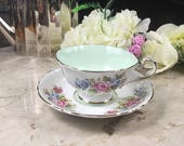 Paragon White and Light Green Teacup, Paragon Double Warrant Teacup, Vintage Paragon Tea Cup and Saucer, Fine Bone China Teacup