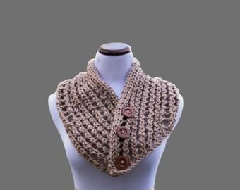 Taupe Chunky Wool Scarf