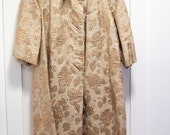 Vintage Evening Coat, Original Phyllis Llewellyn, Gold Roses, Brocade, 3 4 Sleeves, Hollywood, 60s, 50s, Dress Coat or Jacket, Wedding