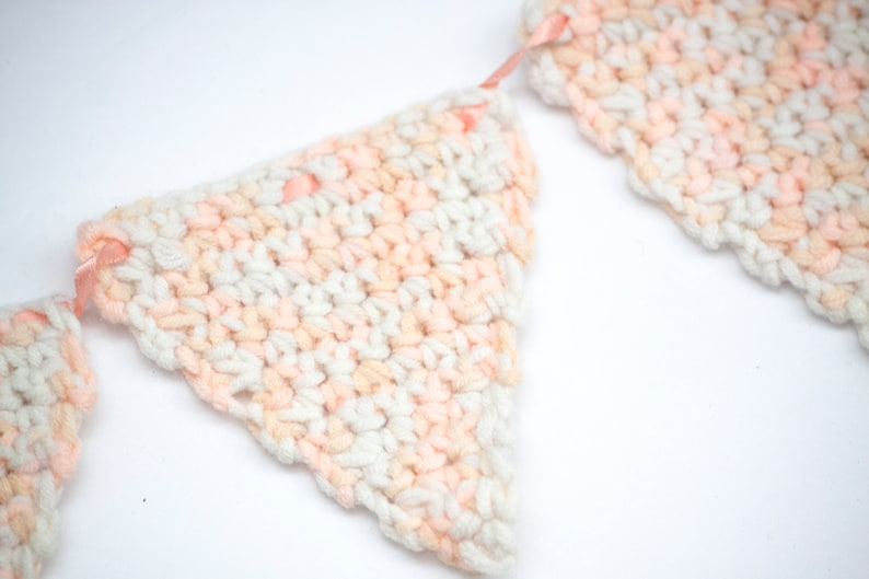 Hand Crocheted Small  Bunting or Garland for Nursery Photo Display or Shelf