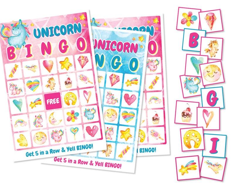 Unicorn Printable Game, Unicorn Bingo Game, Unicorn Party, PRINTABLE,  Unicorn Game, Unicorn Birthday, Birthday Printable, Labels, Party Game