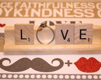 Ring Holder, Scrabble Wedding, Scrabble Engagement, Scrabble Tiles, Love, Scrabble, Engagement, Engagement Photo Prop, Wedding Reception,