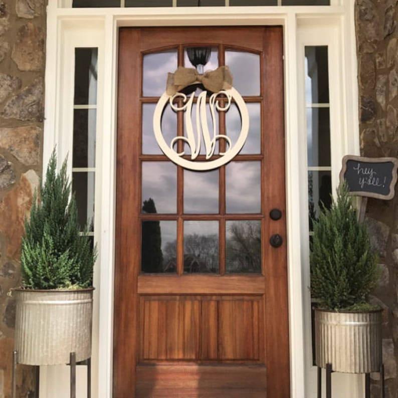 Monogram Door Hanger Monogram Door Wreath Initial Door | Etsy