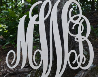 24X26 inch Wooden Monogram Letters. Great for weddings, birthdays, gifts, nursery and home decor, Modern Couples Monogram, Script Font Sign