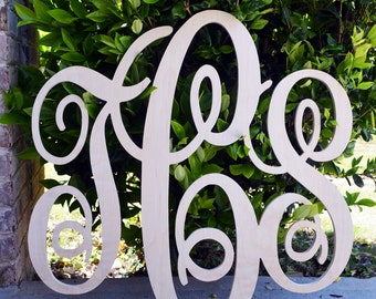 30X32 inch Wooden Monogram Letters. Great for weddings, birthdays, gifts, nursery and home decor, Couples Initials, Wedding Monogram Decor