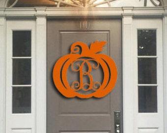 Wooden Door Hanger, Pumpkin Door Hanger, Fall Wooden Door hanger, Halloween Wooden Door Hanger, Monogram Wooden door hanger,pumpkin monogram