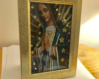 Virgin Mary colour print with stars and diamante in a gold frame