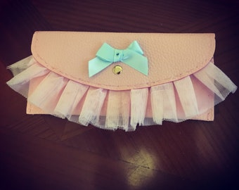 Baby pink wallet clutch bag faux leather with ruffle trim