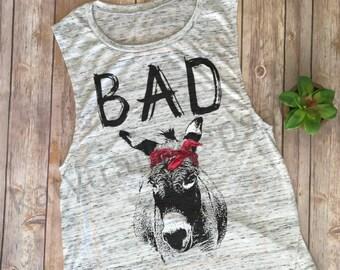 Bad Ass Muscle Tank//Farm Tank//Donkey Bandana Shirt, Donkey Tank//Funny Shirt//Workout Tank//Bella Canvas Muscle Tank