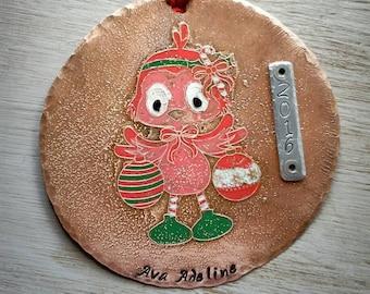 Christmas Ornament Personalized -  Custom Christmas Ornament - Hand stamped Ornament - Keepsake Ornament - 2016 Ornament - Personalized Gift