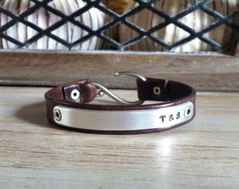 Womens Leather Initial Bracelet - Brown Leather Bracelet - Personalized Couples Initial Bracelet