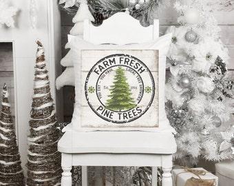 Farm Fresh Pine Trees, Christmas Tree Pillow, Rustic Christmas Decor, Christmas Cottage Decor, Pine Tree Pillow, Christmas Throw Pillow