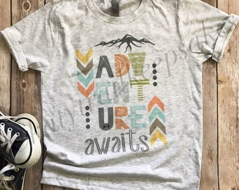 Adventure Awaits Tshirt for Boys, Hipster Tshirt, Youth Camp Tee, Camping Shirt for Boys, Trendy Tee for Boys, Graphic Tee