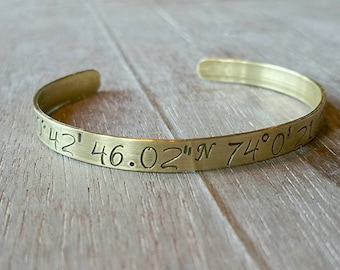 Custom Coordinate Jewelry - Coordinate Bracelet - GPS Bracelet - Personalized Brass Cuff Bracelet - Long Latitude Jewelry