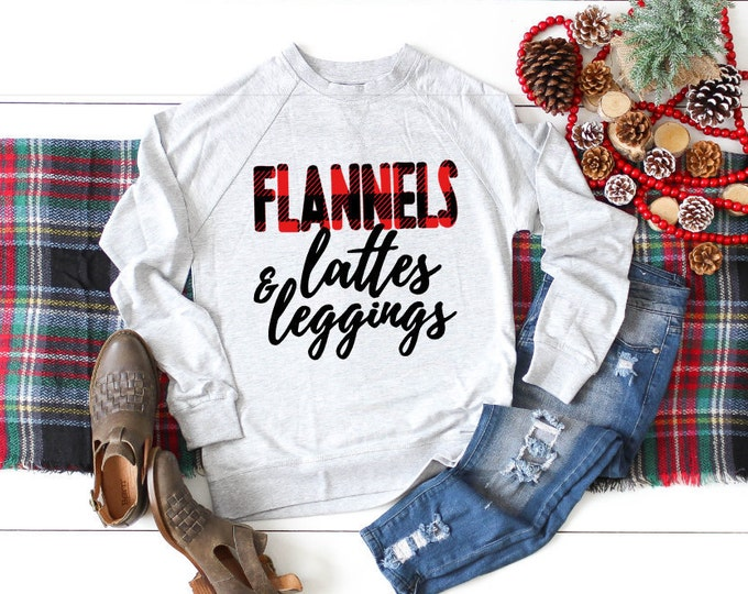 Featured listing image: Flannels Lattes Leggings Sweater, Christmas Sweater for Women, Christmas Shirt, Cute Christmas Sweater, Womens Christmas Sweater